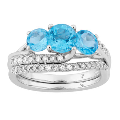 Womens 1/3 CT. T.W. Genuine Blue Topaz 10K White Gold Cocktail Ring
