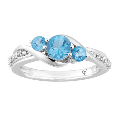 Womens 1/10 CT. T.W. Genuine Blue Topaz 10K White Gold Cocktail Ring