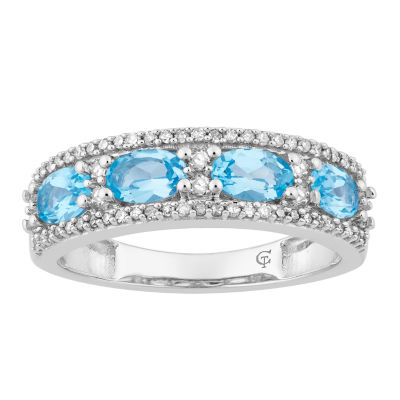 Womens 1/7 CT. T.W. Genuine Blue Topaz 10K White Gold Cocktail Ring