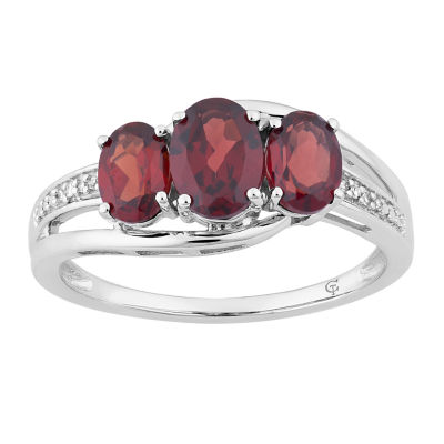 Womens Genuine Red Garnet 10K White Gold Cocktail Ring