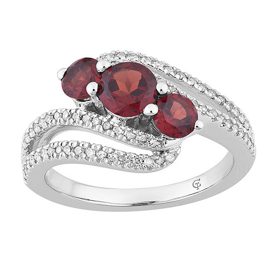 Womens 1/4 CT. T.W. Genuine Red Garnet 10K White Gold Cocktail Ring
