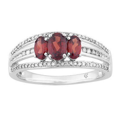 Womens 1/4 CT. T.W. Genuine Red Garnet 10K White Gold Cocktail Ring