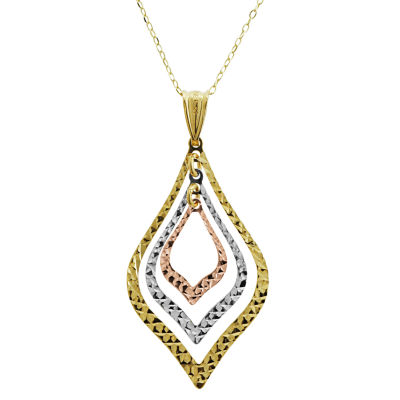 Womens 14K Gold 14K Tri-Color Gold Pear Pendant Necklace