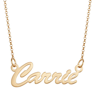 Personalized Womens 18K Gold Over Silver Pendant Necklace