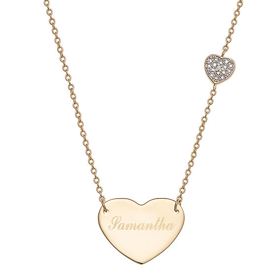 Personalized Womens Diamond Accent Genuine White Diamond 14K Gold Over Silver Heart Pendant Necklace