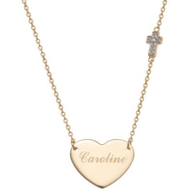 Personalized Womens Diamond Accent Genuine White Diamond 14K Gold Over Silver Heart Pendant Necklace