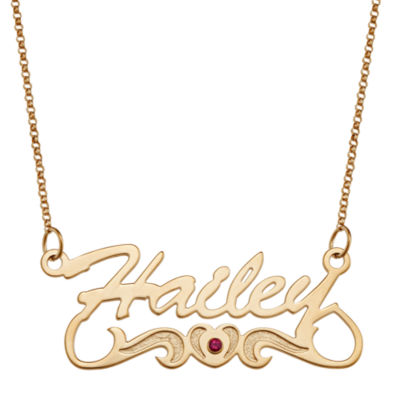 Personalized Womens Multi Color Cubic Zirconia 14K Gold Over Silver Pendant Necklace