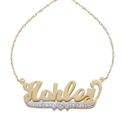 Personalized Womens Diamond Accent White Diamond 14K Gold Over Silver Pendant Necklace