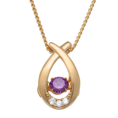 Personalized Womens Simulated Multi Color Cubic Zirconia 14K Gold Over Silver Pendant Necklace