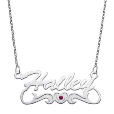 Personalized Womens Multi Color Cubic Zirconia Sterling Silver Pendant Necklace