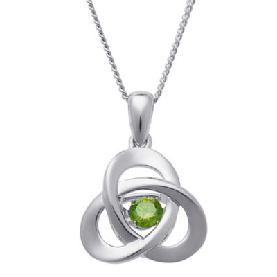 Personalized Womens Simulated Multi Color Cubic Zirconia Sterling Silver Pendant Necklace