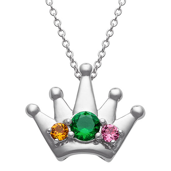 Personalized Womens Simulated Multi Color Cubic Zirconia Sterling Silver Crown Pendant Necklace