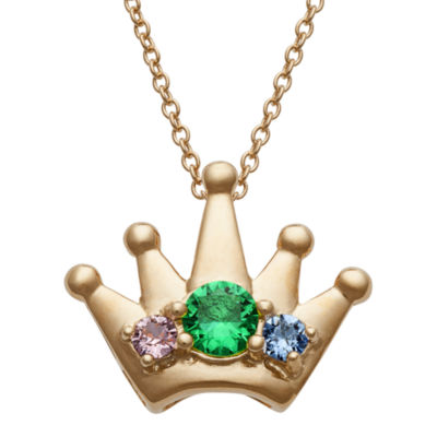 Personalized Womens Simulated Multi Color Cubic Zirconia 14K Gold Over Silver Crown Pendant Necklace