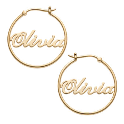 Personalized 14K Gold Over Silver 25mm Hoop Earrings