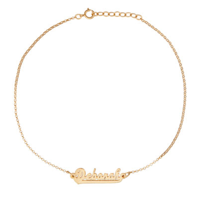 Personalized 14K Gold Over Silver 9 Inch Solid Cable Ankle Bracelet