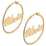 Personalized 14K Gold Over Silver 35mm Hoop Earrings