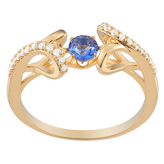 Personalized Womens Simulated Multi Color Cubic Zirconia 14K Gold Over Silver Cocktail Ring