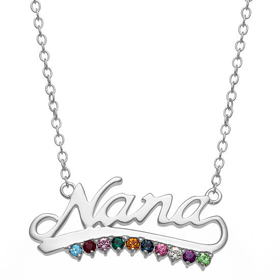 Personalized Womens Multi Color Crystal Sterling Silver Pendant Necklace