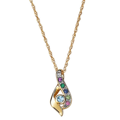 Personalized Womens Diamond Accent Multi Color Crystal 18K Gold Over Silver Pendant Necklace