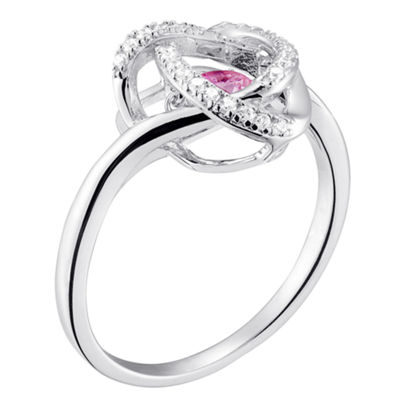 Personalized Womens Simulated Multi Color Cubic Zirconia Sterling Silver Cocktail Ring