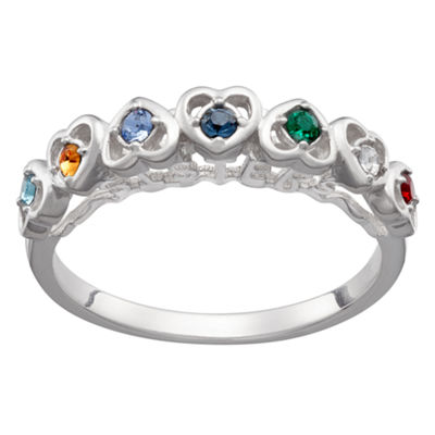Personalized Womens Multi Color Cubic Zirconia Sterling Silver Cocktail Ring