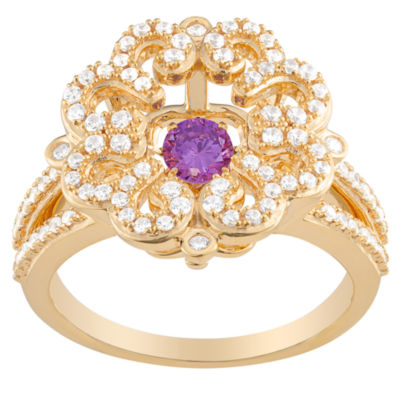 Personalized Womens Simulated Multi Color Cubic Zirconia 18K Gold Over Silver Cocktail Ring