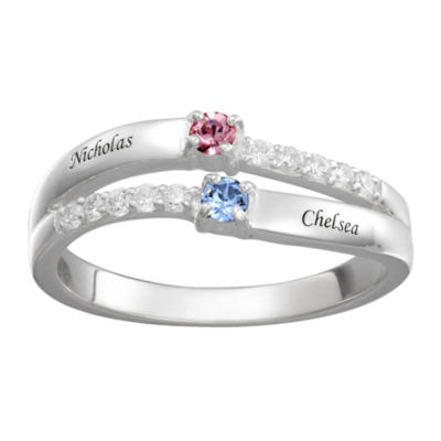 Personalized Womens Multi Color Crystal Sterling Silver Cocktail Ring