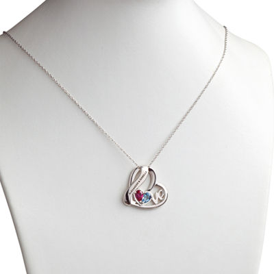 Personalized Womens Multi Color Cubic Zirconia Sterling Silver Heart Pendant Necklace