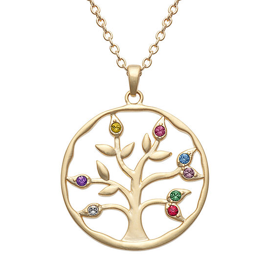 Personalized Womens Multi Color Crystal 14K Gold Over Brass Pendant Necklace