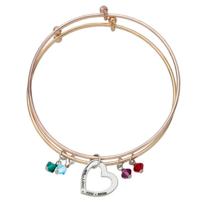 Personalized Multi Color Cubic Zirconia 14K Gold Over Stainless Steel 14K Rose Gold Over Stainless Steel Bangle Bracelet