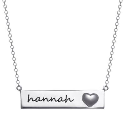 Personalized Womens Rectangular Pendant Necklace
