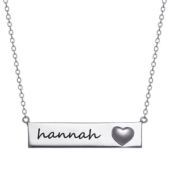 Personalized Womens Sterling Silver Rectangular Pendant Necklace