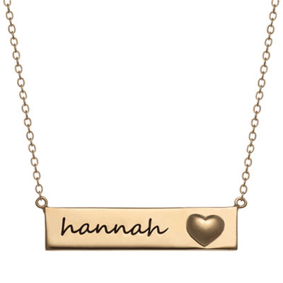 Personalized Womens 14K Gold Over Silver Rectangular Pendant Necklace