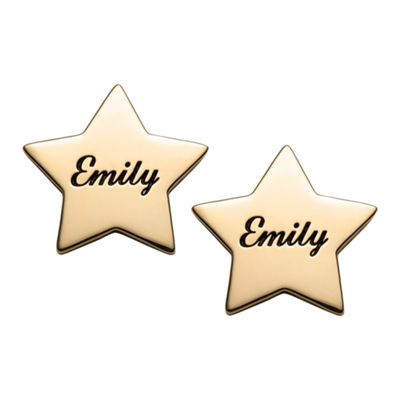 Personalized 14K Gold Over Silver 15mm Star Stud Earrings