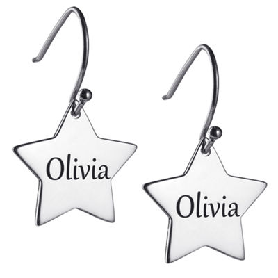 Personalized Sterling Silver Star Drop Earrings