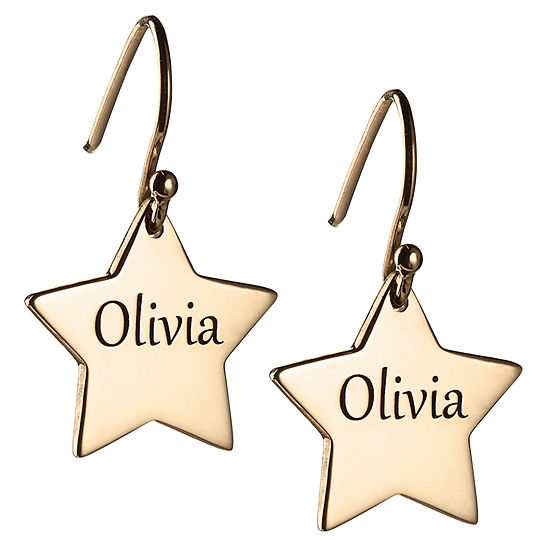 Personalized 14K Gold Over Silver Star Drop Earrings