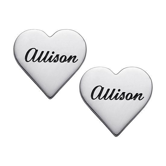 Personalized Sterling Silver 14mm Heart Stud Earrings