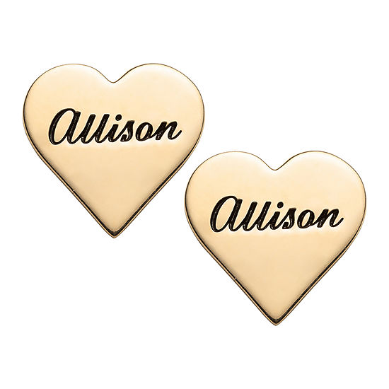 Personalized 14K Gold Over Silver 14mm Heart Stud Earrings