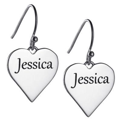 Personalized Heart Drop Earrings