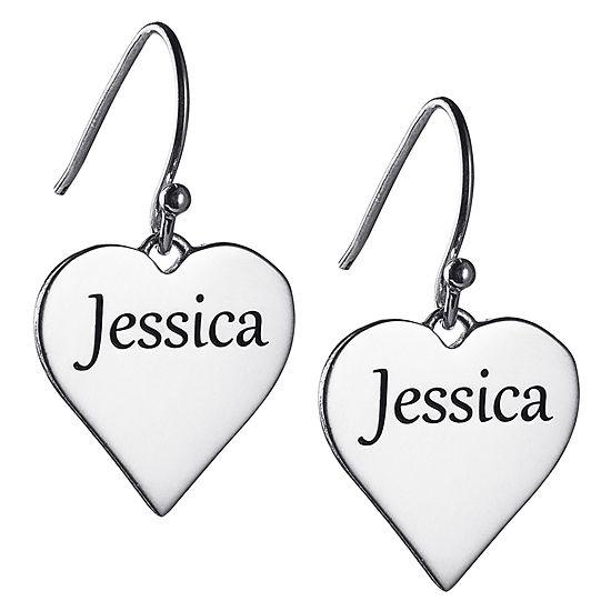 Personalized Sterling Silver Heart Drop Earrings