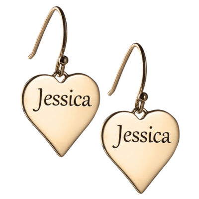 Personalized 14K Gold Over Silver Heart Drop Earrings