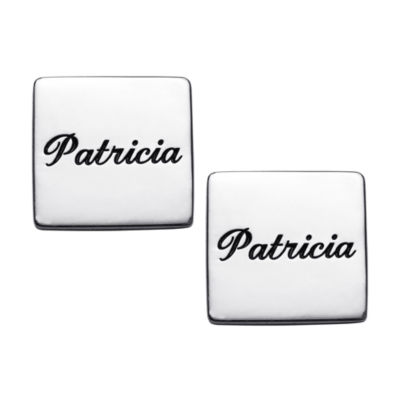 Personalized Sterling Silver 14mm Square Stud Earrings