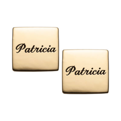 Personalized 14mm Square Stud Earrings