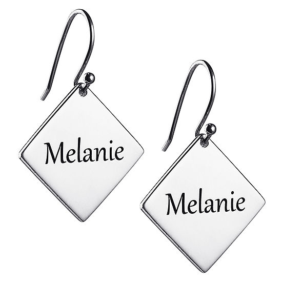 Personalized Sterling Silver Square Drop Earrings
