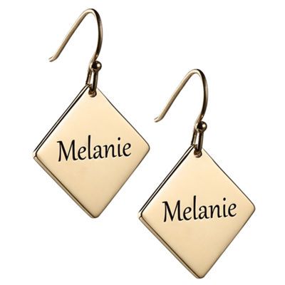 Personalized 14K Gold Over Silver Square Drop Earrings