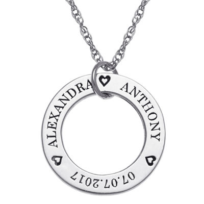 Personalized Womens Sterling Silver Round Pendant Necklace