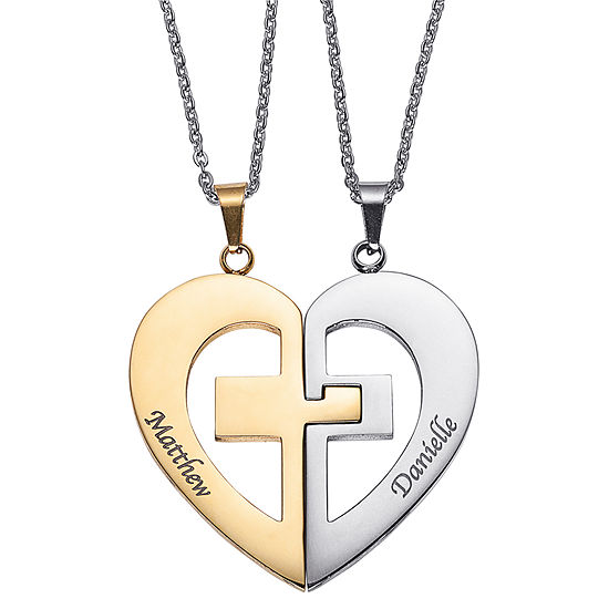 Personalized Womens Stainless Steel Heart Pendant Necklace