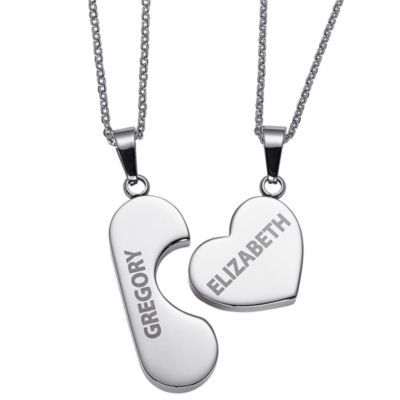 Personalized Womens Stainless Steel Oval Pendant Necklace