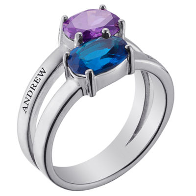 Personalized Womens Simulated Multi Color Cubic Zirconia Sterling Silver Round Cocktail Ring