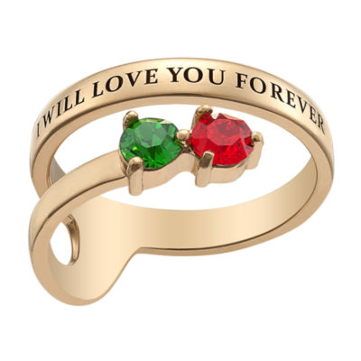Personalized Womens Simulated Multi Color Crystal 18K Gold Over Silver Round